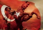 Hrdinské Ataturk socha a turecká vlajka