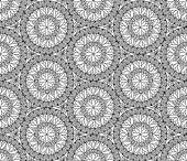 Abstract seamless pattern with circular ornament Swirl geometric oriental doodle texture Engrave tiled mosaic background