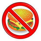 No Cheeseburger Sign Isolated on White Background No Food Allowed Sign