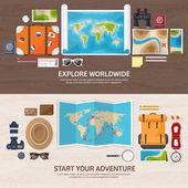 Cestování a cestovní ruch. Ploché styl. Svět, země mapa. Glóbus. Trip, tour, cesta, letní prázdniny. Cestování, putování po celém světě. Dobrodružství, expedice. Stůl, pracoviště. Cestovatel. Navigace nebo trasu