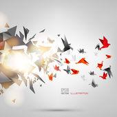 Origami papír pták na pozadí abstraktní