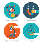 Vector illustration. Medical research flat background.  Chemical equipment. Healthare and protection.
