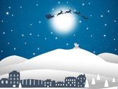 Illustration of city santa and mountain at winter