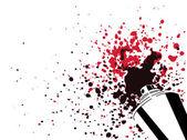 Spruzzo può sagoma con il colore rosso e colore nero gocce e spruzzi isolato su sfondo bianco - arte, creatività o elemento di graffiti