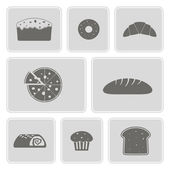 Set of monochrome icons with baking for your design