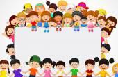 Bambini di folla del fumetto con il segno in bianco