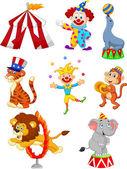 Vector illustration of Cute cartoon set Circus themed