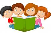 Vector illustration of Cartoon kids reading book