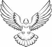 Karikatura Dove ptáci logo pro mír pojetí a svatební design
