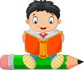 Vector illustration of Cartoon little boy reading a book