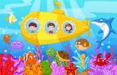 Šťastné děti karikatury v ponorka na moři