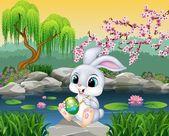 Karton Veselé Velikonoce Bunny obraz vajíčko na skále