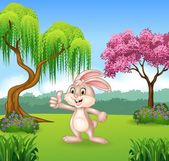 Vector illustration of Cartoon little bunny giving thumb up