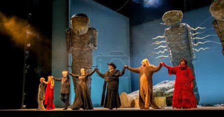 Постер, плакат: Saint Petersburg Russia June 7 2014: Mariinsky Theatre Opera Siegfried artists access to the bow at the end of the play Among the artists Maestro Gergiev , холст на подрамнике