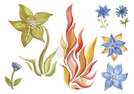 Постер, плакат: Watercolor flowers in different styles, холст на подрамнике