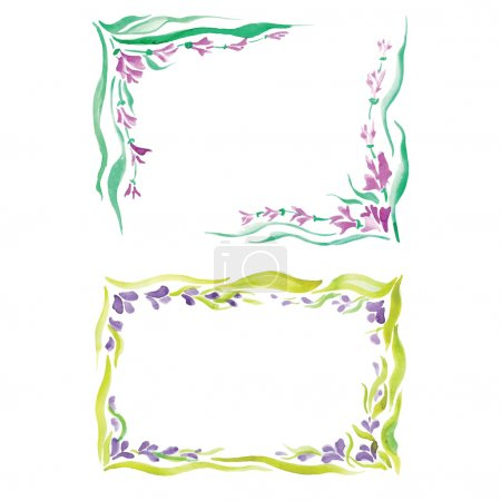 Постер, плакат: Watercolor frame in different styles, холст на подрамнике