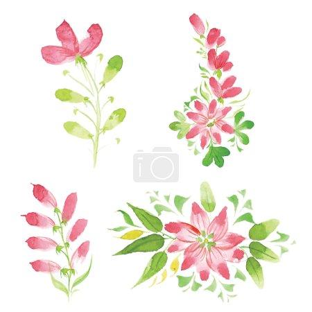 Постер, плакат: Watercolor flowers in different styles, холст на подрамнике