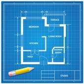 Vector  furniture architect blueprint background Flat Design
