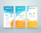 Roll Up Banner Stand Design with Abstract Geometric Colorful Bubble Speech Vector illustration