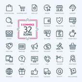 E-commerce a online nakupování. Přehled webových sada ikon