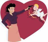 Angry young woman pointing a pistol to a confused Valentine's day Cupid vector cartoon no transparencies EPS 8