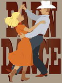 Couple dressed in country-western style dancing polka lettering 'barn dance' on the background vector illustration no transparencies EPS 8