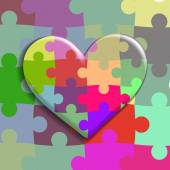 Heart consisting of puzzles