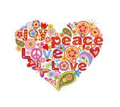 Print with colorful hippie floral heart