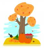 Tree in autumn rake pumpkins and bucket with apples Eps10