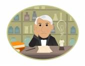 Cartoon Thomas Edison is sitting behind his desk and getting innovative ideas Eps10