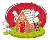 Cute chefs are decorating a gingerbread house Eps10