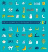 Set of United Arab Emirates flat icons for Web and Mobile Applications