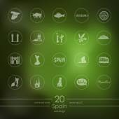 Spain modern icons for mobile interface on blurred background