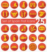 Set of Spain flat icons for Web and Mobile Applications
