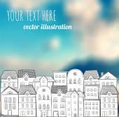 Hand-drawn houses on blurred background with blue sky and clouds Vector illustration