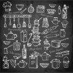 Постер, плакат: Big set of kitchen utensils