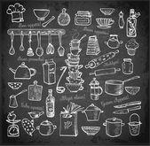 Große Reihe von Küchenutensilien