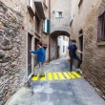 Постер, плакат: Concept of contextualization zebra crossing in a small alley