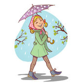 Vector image of little cartoon girl with umbrella eps10