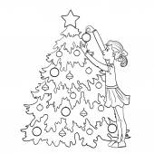 Vector image of a little cartoon girl who decorates Christmas tree outline isolated on white