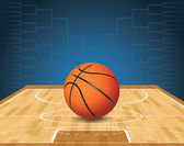 An illustration of a basketball on a court and a tournament bracket in the background Vector EPS 10 available EPS file is layered and contains transparencies
