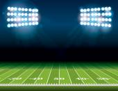 An illustration of an American Football field with bright stadium lights shining on it Vector EPS 10 available Room for copy