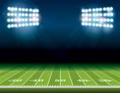 American-Football-Feld mit Stadion-Leuchten