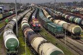 Nákladní vlaky na město cargo terminálu, ruské dráhy