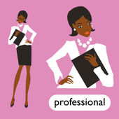 Professional business woman set illustration