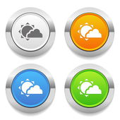 Four color round button with weather icon and metallic border