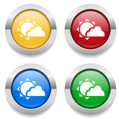 Four color round buttons with weather icons and metallic border