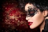 Fashion Model Girl Face in Creative Artistic Masquerade Makeup
