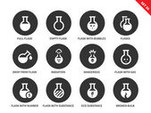 Flask vector icons set Chemical tools and utensils Icons for laboratories full and empty flasks radiation flasks with substances and broken flask Isolated on white background
