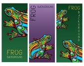 Set of three banners with magic colored frogs drawn in Art Nouveau style stained glass imitation Collection of vertical art backgrounds for special design Vector file is EPS8